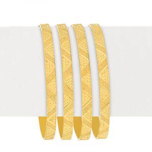 22k Gold Chevron Embossed Gold Bangles