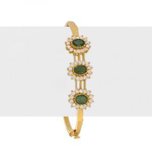 22k Gold Emerald Cz Bangle Bracelet