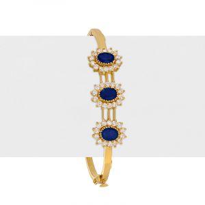 22k Gold Sapphire Cz Bangle Bracelet
