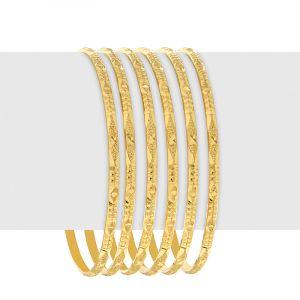 22k Gold Glitzy Textured Bangles - B