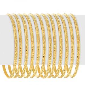 22k Gold Glitzy Textured Bangles