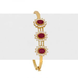 22k Gold Ruby Cz Bangle Bracelet