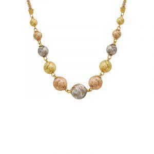 22k Gold Three-tone Beaded Chain