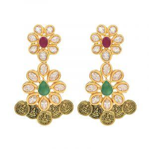 22k Gold Lakshmi Floral Antique Earrings