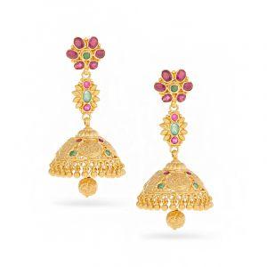 22k Gold Floral Ram Parivar Jhumkas