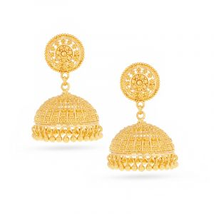 22k Gold Intrali Filigree Jhumka Earrings