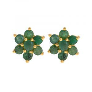 Emerald Flora Gold Studs