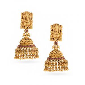 22k Gold Antique Ganesha Temple Jhumkas