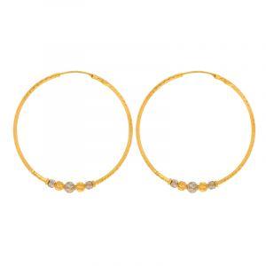 22k Gold 2-Tone Shimmer Hoops