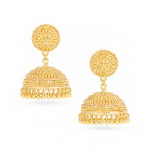 22k Gold Filigree Jhumka Earrings