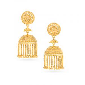 22k Gold Flowy Chain Jhumka Earrings