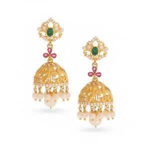 22k Gold Lord Krishna Pearl Jhumkas