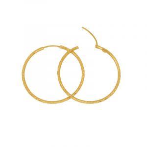 22k Gold Medium Textured Gold Hoops