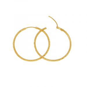 22k Gold Big Textured Gold Hoops