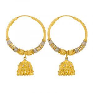 22k Gold 2-Tone Beaded Jhumka Hoops