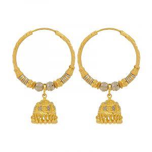 22k Gold 2-Tone Jhumka Hoops