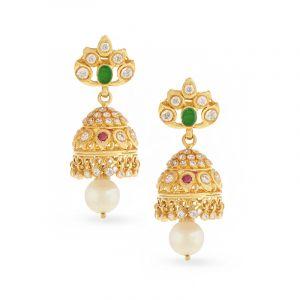 22k Gold Zircon Gems Jhumka Earrings