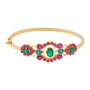 22k Gold Ruby Emerald Bangle Bracelet