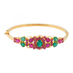 22k Gold Emerald Ruby Bangle Bracelet