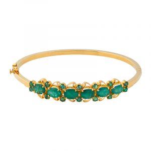 22k Gold Designer Emerald Bangle Bracelet
