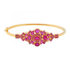 22k Gold Floral Ruby Bangle Bracelet