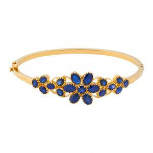 22k Gold Blue Sapphire Bangle Bracelet