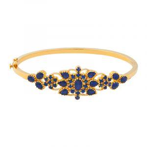 22k Gold Floral Sapphire Bangle Bracelet