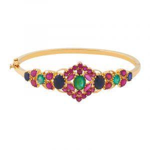 22k Gold Multi Gems Bangle Bracelet