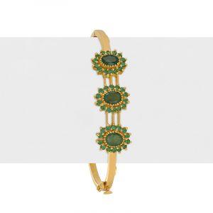 22k Gold Emerald Gems Bangle Bracelet