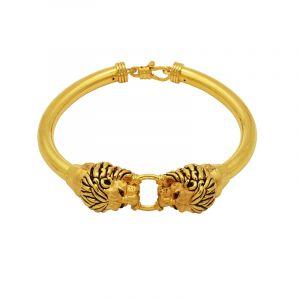 22k Gold Lion Head Cuff Bracelet