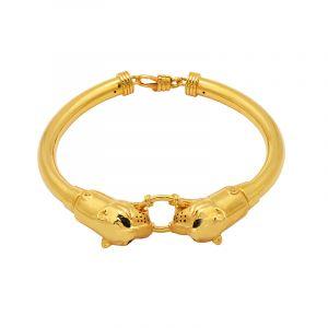 22k Gold Double Panther Head Bracelet