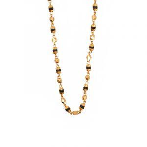 22k Gold Slim Black Beads Mangalsutra