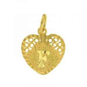22k Gold Letter F Heart Pendant