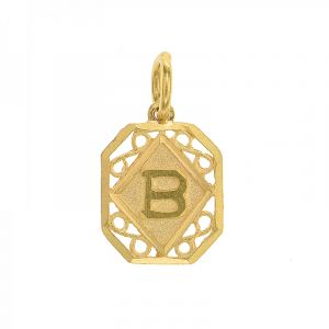 22k Gold Rectangle Initial B Pendant