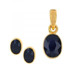 Oval Sapphire Pendant Set