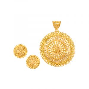22k Gold Filigree Round Pendant Set