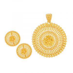 22k Gold Filigree Burst Pendant Set