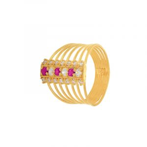 22k Gold Pick Cz Band Ring