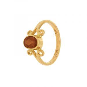 22k Gold Oval Garnett Gold Ring