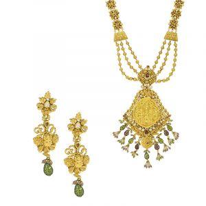 22k Gold Temple Beaded Laxmi Necklace