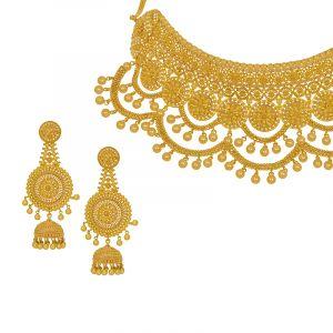 22k Gold Filigree Bridal Dangling Choker