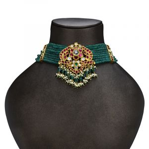 22k Gold Emerald Strands Choker Necklace