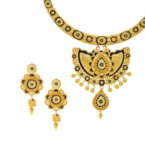 22k Gold Meenakari Dangle Hasli Necklace