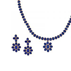 Sapphire Flores Necklace Set