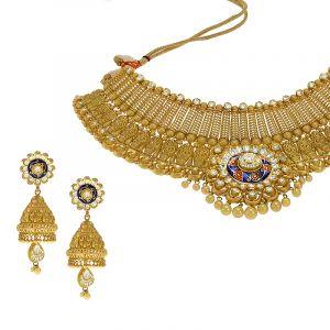 22k Gold Antique Meenakari Kundan Choker