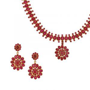 Floral Drop Ruby Necklace
