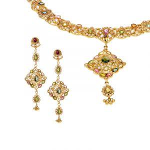 22k Gold Nakshatra Antique Necklace