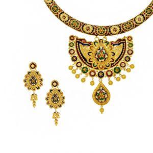 22k Gold Gazala Meenakari Hasli Necklace