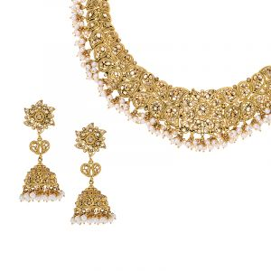 22k Gold Paisley Polki Pearls Necklace