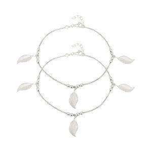 0.925 Silver Silver Leaves Ankle Bracelets